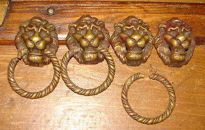 "4 Antique 1 7/8"" Lion's Head Cast Solid Brass Drawer Pulls"