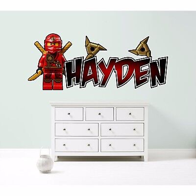 LEGO NINJAGO KAI RED PERSONALISED WALL STICKER children's bedroom decal art