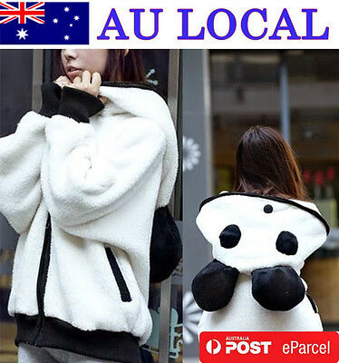 Women Girl Zip Up Panda Hoodie Track Outwear Sweats  Batwing Sleeve