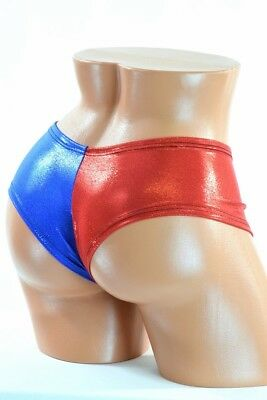 MEDIUM Red/Blue Holographic Harlequin Costume Cheeky Booty Shorts Ready To Ship
