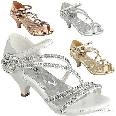 New Girls Silver Gold White Dress Shoes Rhinestones Heels Pageant Party Angel 48