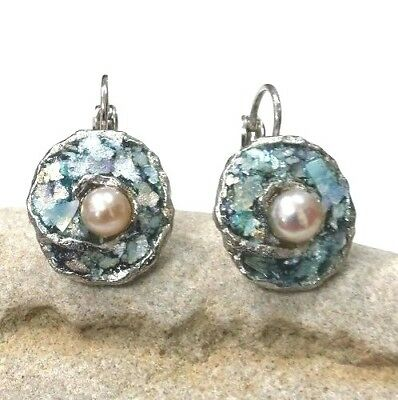 Roman Glass Silver P Fragments Ancient 200 B.C Round Earrings And Peach Pearl