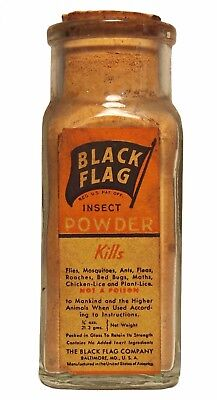 Vintage Black Flag Insect Powder Square Glass Paper Labeled Advertising Bottle