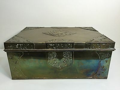 """Large Vintage Chinese Engraved Brass Trunk Chest Box, 17"""" x 12"""" 7"""" H, 12.4 LBS"""