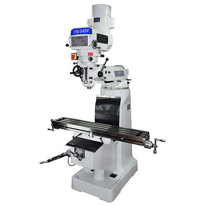 Pm-949Tv Vertical Knee Mill Milling Machineultra High End Variable Speed 3 Phase