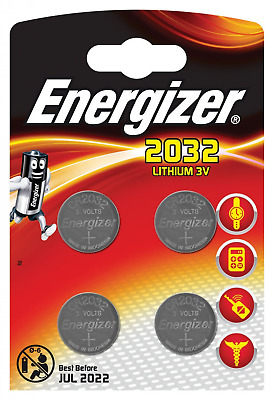 4 Energizer CR2032 Batteries Lithium Battery 3V Button/Coin Cell CR 2032