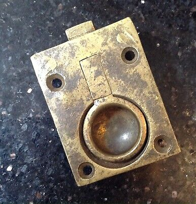 Large Vintage Antique Brass Ring Pull Lock Flush Fitting Furniture Trunks Chests