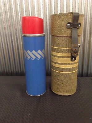 Vintage Trigger Keapsit American Thermos Polly Red Top Metal Thermos With Case