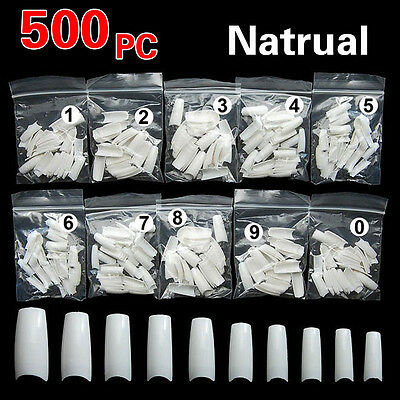 500PCS Natural French Style False Nail Art Tip Acrylic UV Gel DIY Decoration  AD