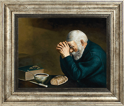 Framed Enstrom Grace Old Man Praying Over Supper Painting Real Canvas Art Print