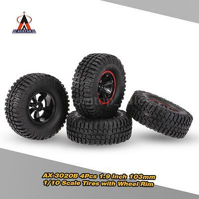 4Pcs AUSTAR AX-3020B 1.9 Inch 103mm  1/10 Scale RC Tires with Wheel Rim V7T1