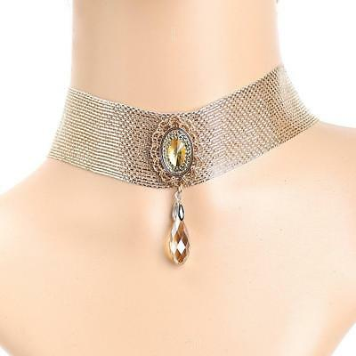 Crystal Pendant Multilayer Row Shiny Rhinestone Choker Collar Necklace
