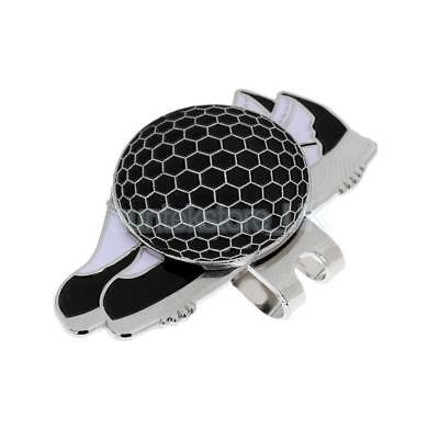Stainless Steel Shoe Design Magnetic Golf Hat Clip and Ball Marker Black