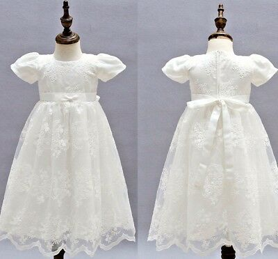 OFF White Toddler Christening Baptism Gowns First Communion Lace Formal Dress