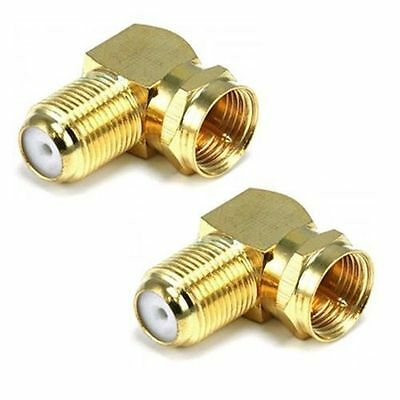 2 X 90° Right Angle Gold Plated F Rg6 Rg59 Coaxial Coax Connector Adapter