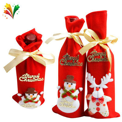 Christmas Red Wine Bottle Cover Bags Dinner Table Home Party Decor Sknowman Elk