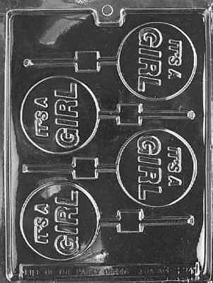 It's a Girl Lollipop Chocolate Mold - B024 - Includes Melting Instructions