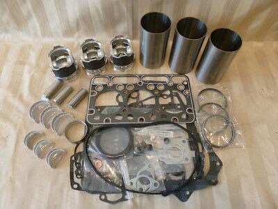 Kubota D1703 Engine Overhaul Kit / Liners, Pistons, Rings, Bearings, Gasket Set