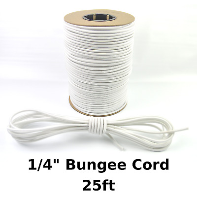 """25ft 1/4"""" White Bungee Cord Marine Grade Heavy Duty Shock Rope Tie Down Stretch"""