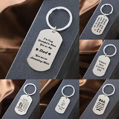 Family Dad Keychain Keyring Stainless Steel Jewelry Heart Hero Father Love Gift