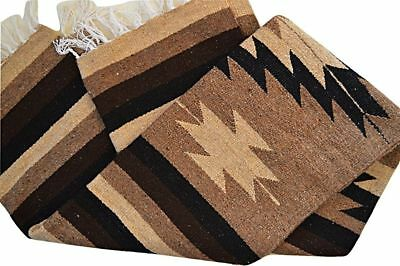 Mexican Blanket Tribal Diamond in Mocha PREMIUM XL 80x48 Handwoven Throw Rug