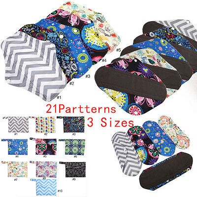 Menstrual Pads Bamboo Charcol Cloth Reusable Washable Sanitary Pads Panty LinerE