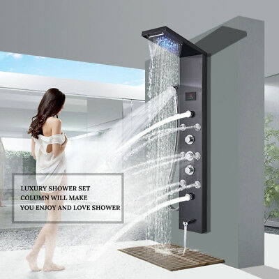 POIQIHY Black Shower Panel Tower LED Rain&Waterfall Massage System Body Jet Tap