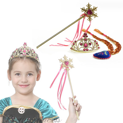 For Frozen Anna Birthday Party Cosplay Crown Tiara Wid Magic Wand Wig Set UK