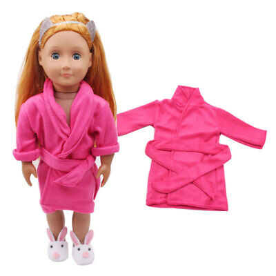 Handmade Doll Pink Bathrobes Clothes For 18inch Doll Girl Clothes Gift