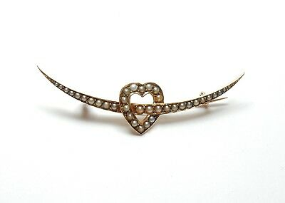 Love Heart Brooch 15 Carat Yellow Gold pearl antique victorian