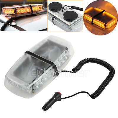 24LED Amber Strobe Vehicle Roof Recovery Lightbar Flashing Beacon Light Magnetic