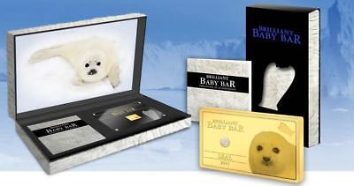 Niue 2015 $5 Brilliant Baby Bar - Seal 1g Pure Gold Coin with real Diamond RARE