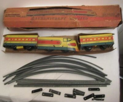 Antique Tin Wind Up Toy Mechnicraft Streamlined Train Set w Track & Box 1930s