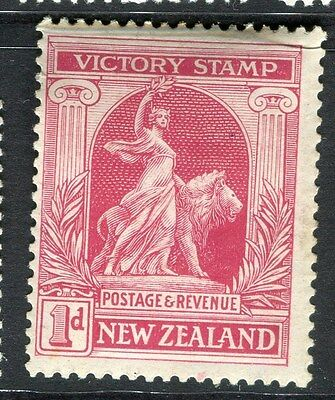 NEW ZEALAND;  1920 early Victory issue Mint hinged 1d. value