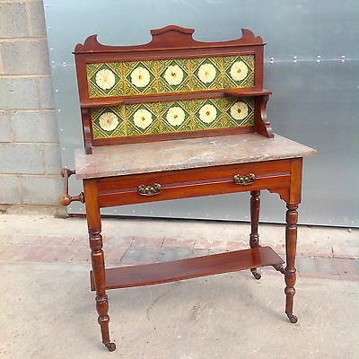 Lovely Antique Edwardian Mahogany Washstand With Marble Top And Tile Back