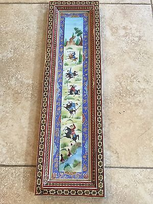 Vintage Mogul India Hunting Scene Hand Painted w/Detail Inlaid Wooden Frame
