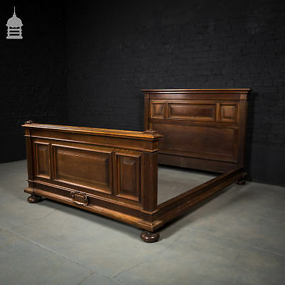 Stunning 19th C Walnut Double Bed Frame with 1888 Carving