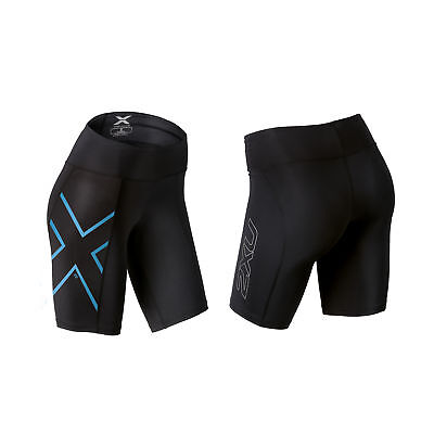 2XU Women's ICE-X Mid-Rise Compression Shorts Black/Ice Blue S