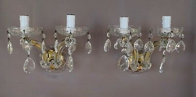 Italian Vintage Pair of Crystal & Brass Wall Sconces Chandelier