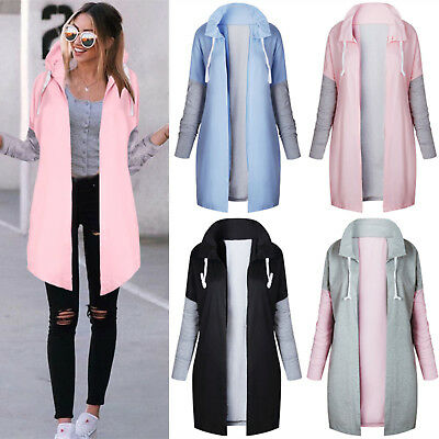 UK Womens Long Sleeve Hoodies Cardigan Jacket Sweatshirt Ladies Outwear Coat Top