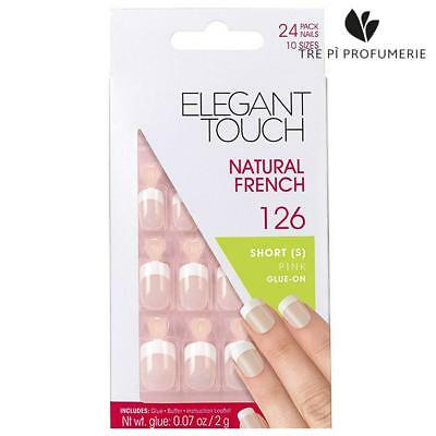 Elegant Touch Natural French Short Pink Glue On 126