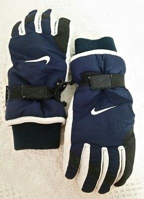 Nike Snow Gloves 8-20 Blue Gray Thinsulate Adjustable Wrist Straps Insulated