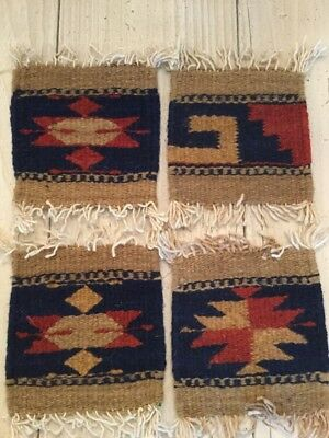 """4 Zapotec Indian 100% WOOL Tiny Rugs Southwestern Coaster 5"""" x 5"""" hand made"""