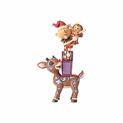 Jim Shore Christmas Rudolph Reindeer with Misfits Stacked 4058341 NEW NIB