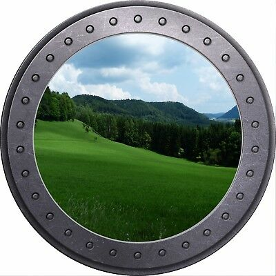 3D Porthole View Palm Trees Beach Paradise Wall Sticker Poster M17-51