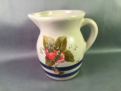 ROBINSON & RANSBOTTOM Hand Painted Blue Striped Crockery PINT PITCHER