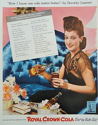 1942 PRINT AD ROYAL CROWN COLA featuring Dorothy Lamour, pouring Cola in glass