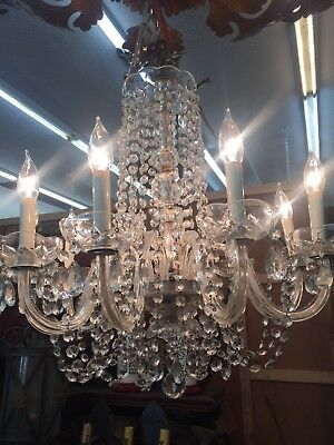 10 Light Crystal Chandelier With Glass Arms And Ribbons Rupert Murdoch Estate