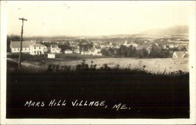 Mars Hill Village ME General View 1935 Used Real Photo Postcard