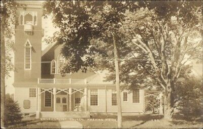 Machias ME Universalist Church 1937 Used Real Photo Postcard